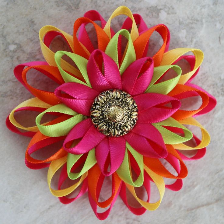 Hot Pink and Orange Flowers ~ Corsage Pin  So colorful! This handmade flower is made from durable satin ribbon with a chunky gold center.  The flower has a felt back with a brooch pin attached and is a little over 3 inches wide.  Your pin will come nicely packaged in a gift box with bow and...