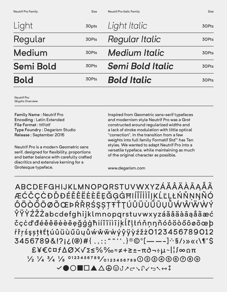 Neutrif Pro is a modern style sans serif, designed for flexibility, proportions and better balance with carefully crafted diacritics and extensive kerning for a Grotesque typeface. Inspired from Geometric sans-serif typefaces and modernism style Neutrif P…