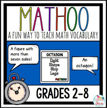 This Math Taboo game incorporates math vocabulary terms into a really fun game and can be used all year long! 153 Mathoo cards included!There is also an EDITABLE blank template for you to create your own cards!This game is great for 3rd  8th grade students, but can even be used as a review for older students.