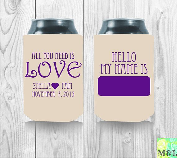 Personalized All You Need Is Love Koozies By Mintandlemon On Etsy