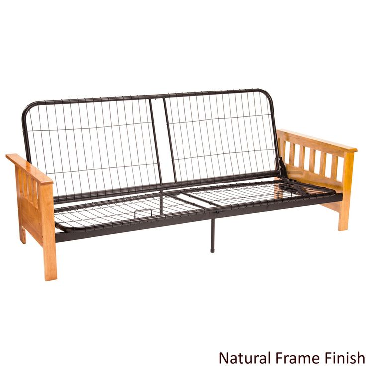 Switch between daytime sofa and nighttime sleeping easily with this comfortable futon bed. The Mission-style sleeper has a durable frame made of black steel alloy flanked by two solid Indonesian oak a                                                                                                                                                     More