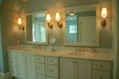 Modern Country Style: Bathroom in Farrow and Ball Light Blue Paint Click through for details.