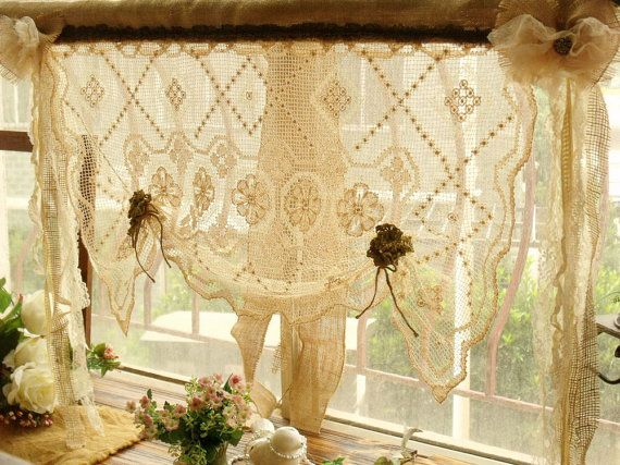 Shabby French Rustic Chic Balloon Burlap Lace Kitchen