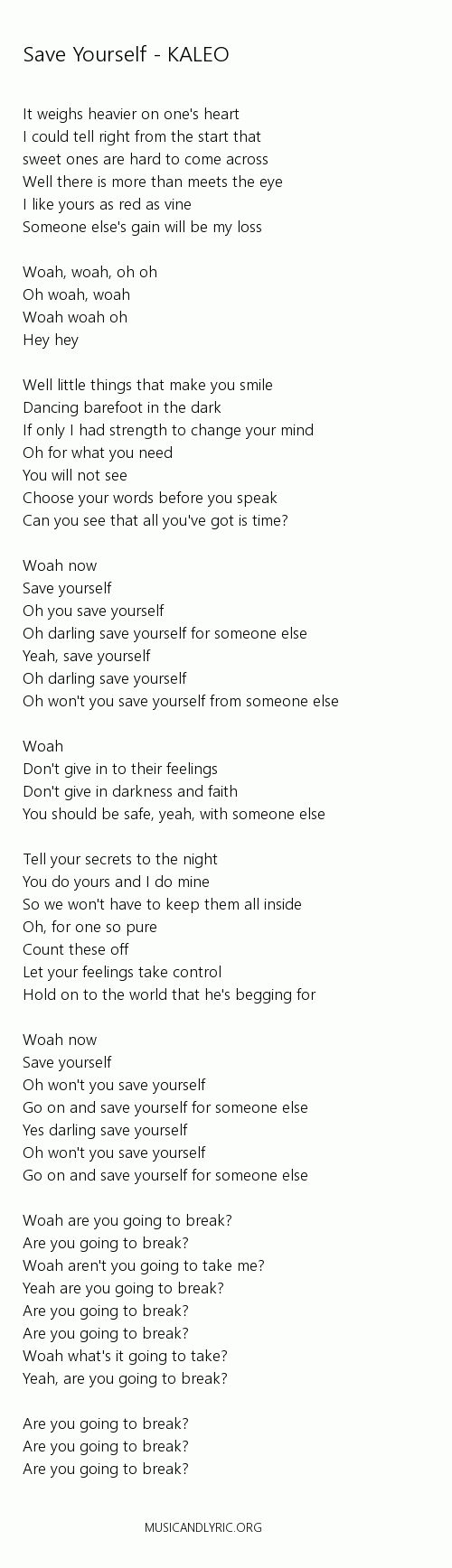 Kaleo-save yourself lyrics