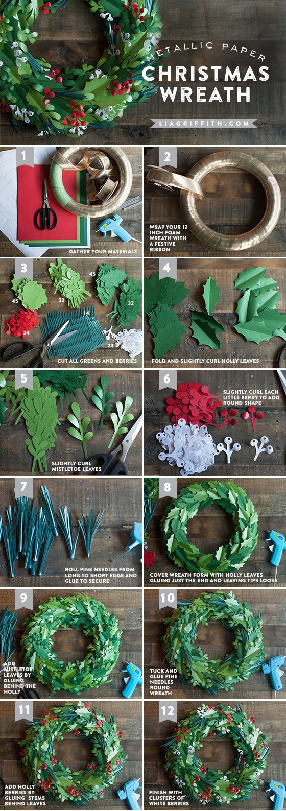 Christmas Wreath Tutorial Lia Griffith Blog | Purely Inspiration http://liagriffith.com/make-a-paper-christmas-wreath/