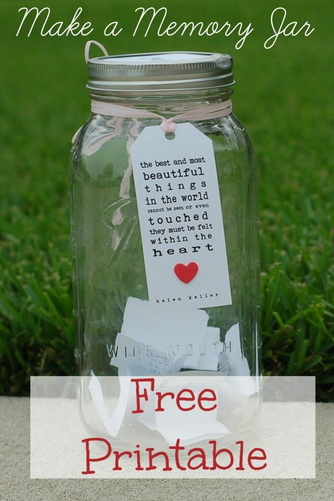 We started a memories jar. We picked a poem that expressed our sentiments and tied it around a large mason jar. I keep little bits of paper and a pencil nearby for anyone who wants to add a ...