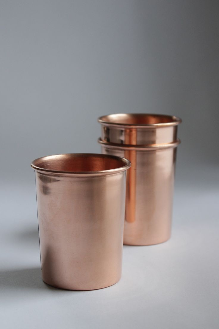 Beautifully handmade copper drinking cups from St. Augustine, FL by small batch maker, team of two, Yield. Copper is naturally antimicrobial and insulated, so a copper cup makes the perfect drinking v