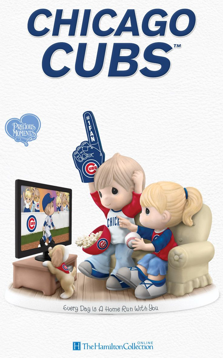 Score a home run with this officially-licensed Precious Moments Chicago Cubs fan figurine! Featuring an adorable Precious Moments couple cheering on their favorite team, the Cubs! Don't miss out on scoring this essential fan tribute!