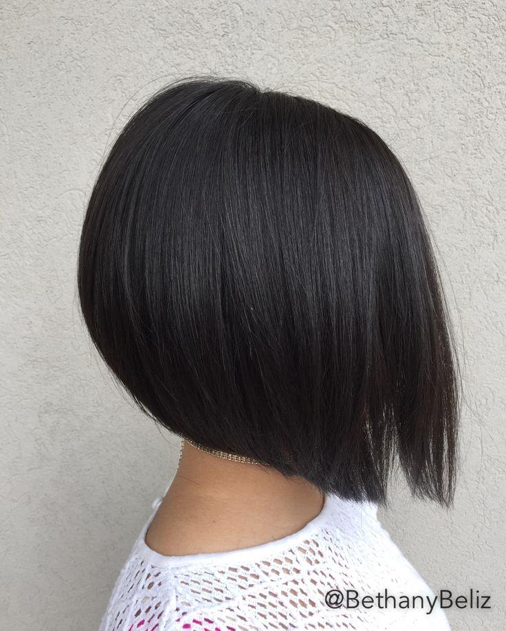 Short medium Aline haircut heavily textured.