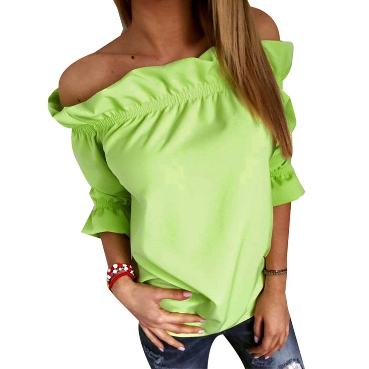 Fashion Women Blouse Puff Sleeve Slash Neck Soild Shirt Strapless Off Shoulder Ruffles Feminine Blouses on http://ali.pub/6lwkh