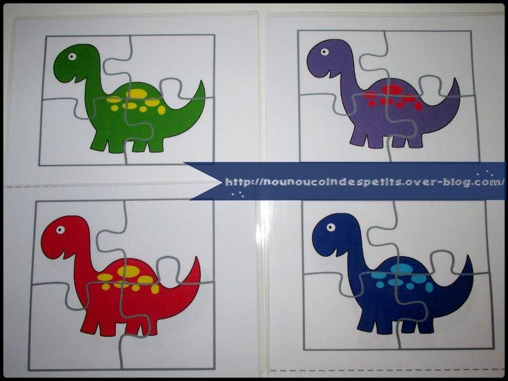 -Puzzle dinosaure 4 couleurs + modèle a imprimer - Puzzle dinosaure rouge en téléchargement ici : https://mon-partage.fr/f/UCzt3F9i/ - Puzzle dino vert ici : https://mon-partage.fr/f/n9rE7G01/ - puzzle dino bleu ici : https://mon-partage.fr/f/IAp74hXw/ -...