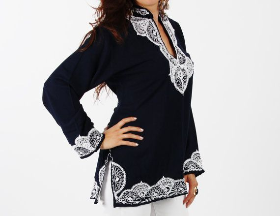 Salma Style Navy Tunic with White by MaisonMarrakech on Etsy