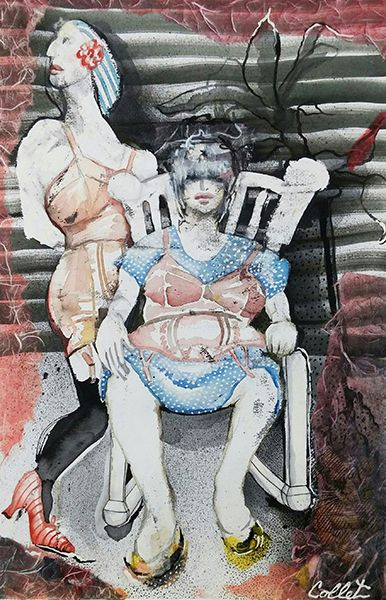 """Girdle Ghosts -  Mixed media on paper -   22.5"""" X 15"""""""