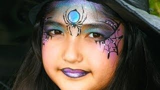 spider web witch face paint - YouTube