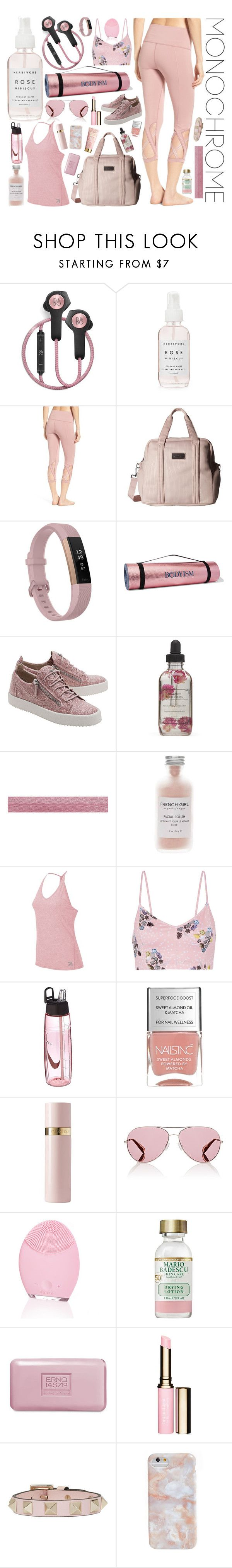 """""""Pose In Rose"""" by rachael-aislynn ❤ liked on Polyvore featuring B&O Play, Herbivore, Zella, adidas, Fitbit, Bodyism, Giuseppe Zanotti, French Girl, New Balance and Live the Process"""