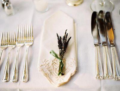 lavender and delicate napkin.