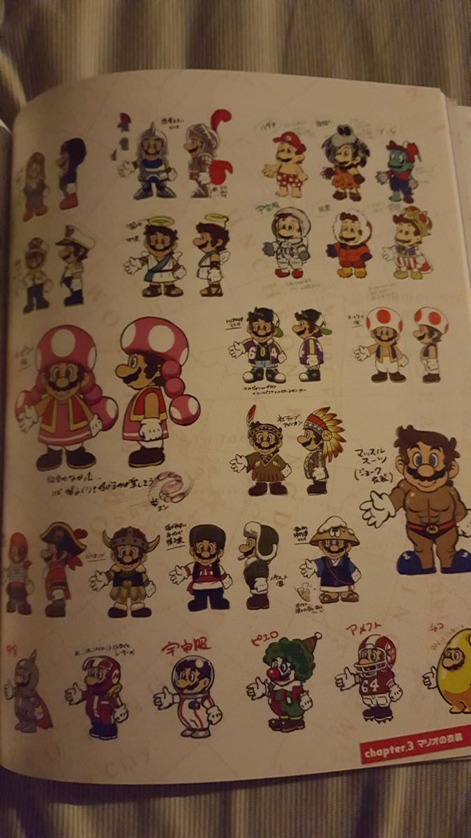 The Art of Super Mario Odyssey book unused costumes | Super Mario