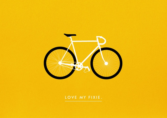 Fixed Gear Bicycle poster art print Fixie illustration Love my Bike. $19.00, via Etsy.