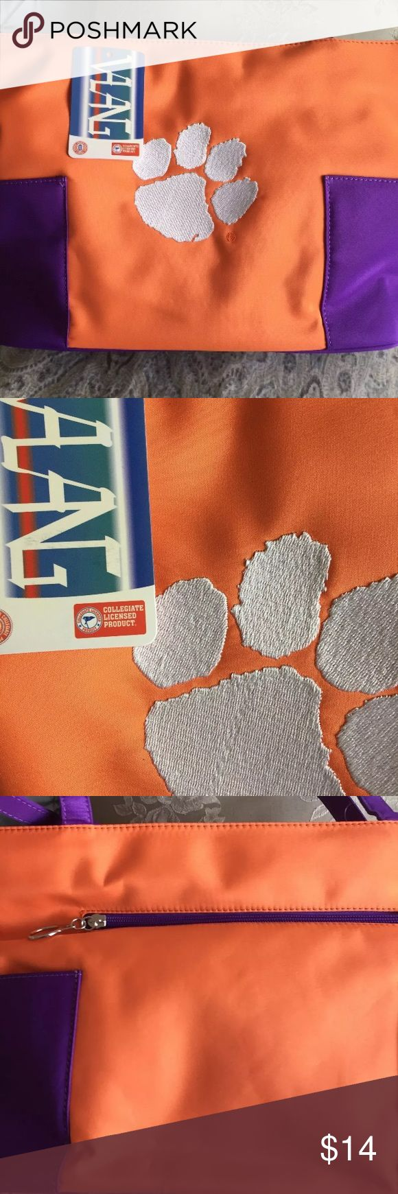 Clemson Tigers Orange Tote Bag Clemson Tigers Bag Purple and Orange Zippered Closure Velcro Pocket on Outside Nylon Like Fabric Neat and handy 14 by 9 by 4 inches Bags Totes