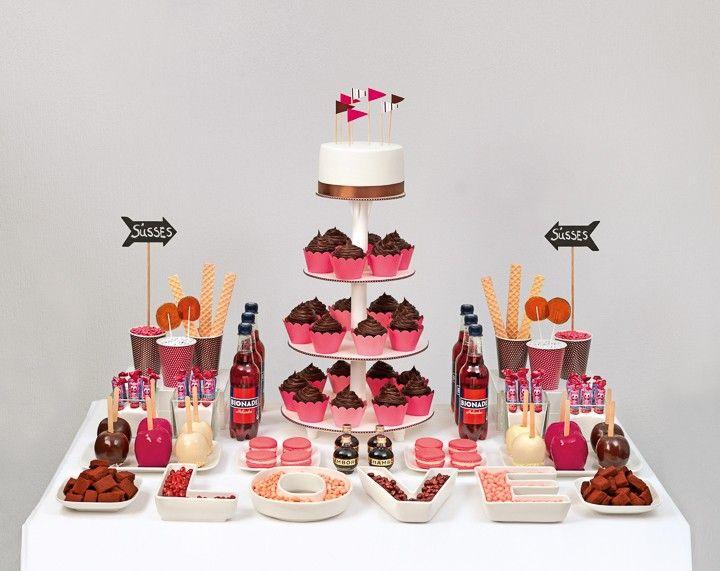 Candybar in Pink und Braun – pink and brown candy bar – www.weddingstyle.de