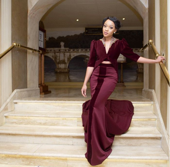 Cinderella Shweshwe Dress: Thando Thabethe-OnoBello (4) In 2019