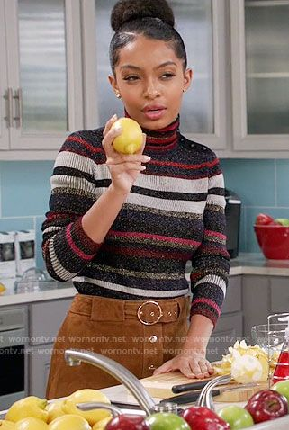 Zoey's striped turtleneck sweater and suede buttoned front skirt on Black-ish.  Outfit Details: https://wornontv.net/64198/ #Blackish