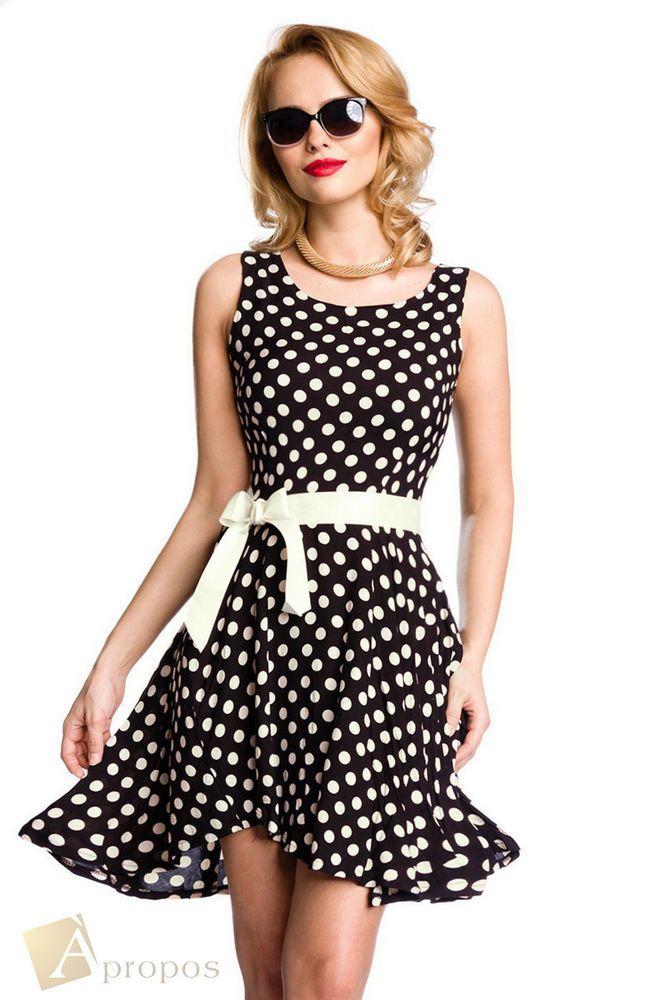 APROPOS Sommerkleid Kleid Baumwolle Gürtel Schwarz Knielang 36, 38, 40, 42, 44