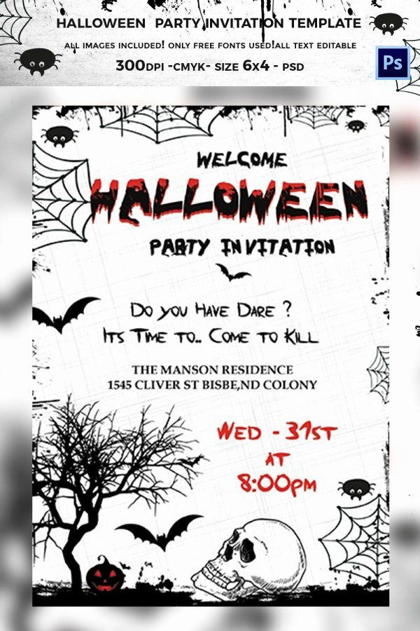Free Halloween Invitation Template Elegant 35 Halloween ...