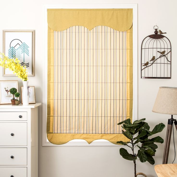 Mediterranean Yellow Stripe Roman Shade - Pridecor