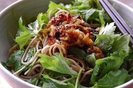 Soba with korean souce(葱だれ三ツ葉蕎麦の画像:vege dining 野菜のごはん)