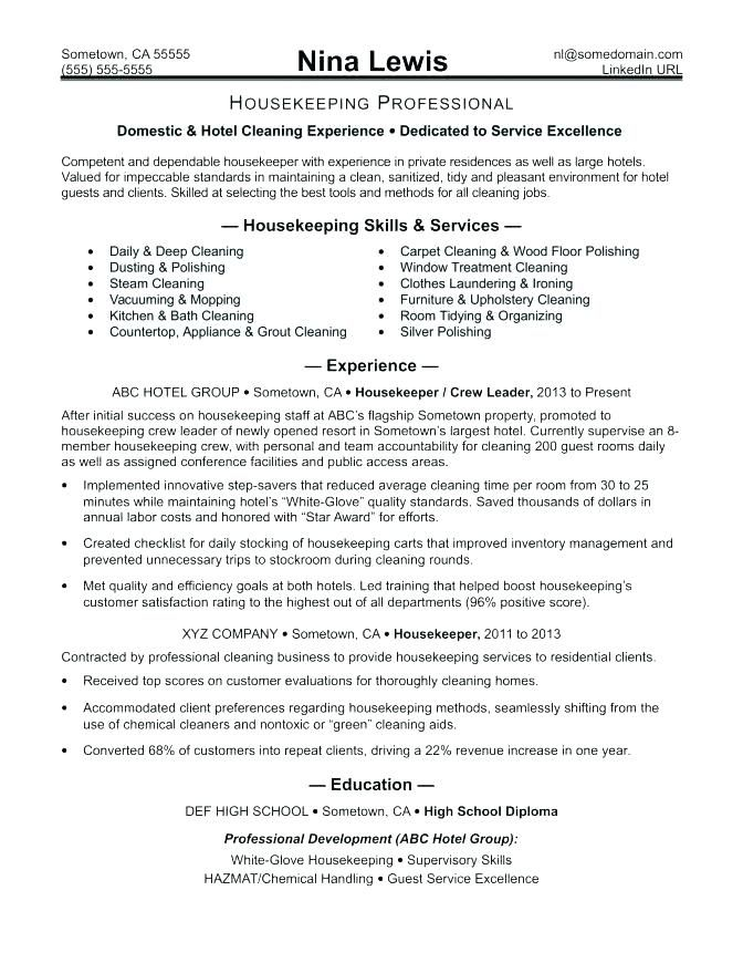 Resume Examples Housekeeping Sample Housekeeper
