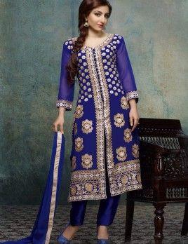 Soha Ali Khan Navy Blue Straight Suit For Wedding Wear