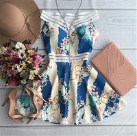 2016 Summer Fashion mulheres A - linha Vestido sem mangas casual azul elegante Vestidos de renda Vestidos nova flor imprimir Vestido Plus Size