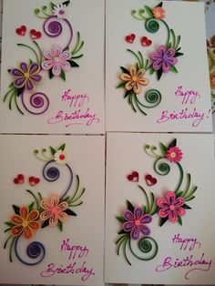 Quilled flower birthday cards