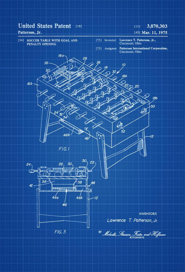 Foosball Table Patent 1975 Patent Print, Wall Decor