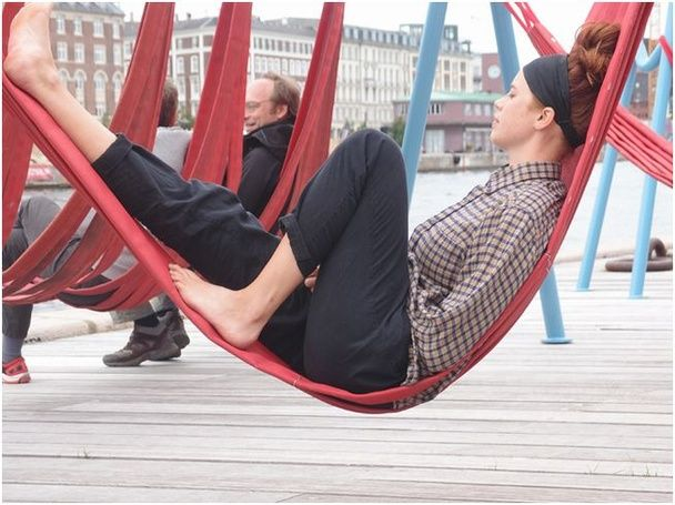 "Copenhagen hammocks ""off ground"". Provides a place to rest or play for adults"
