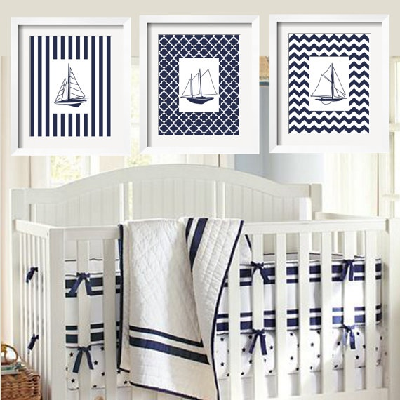 Sophisticated Modern Nautical Nursery: Sailboats Modern Nautical Prints In Navy And White 11x14