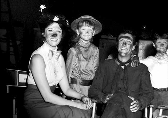 "Julie Andrews, Karen Dotrice, Dick Van Dyke and Matthew Garber on the set of ""Mary Poppins"" 1964"