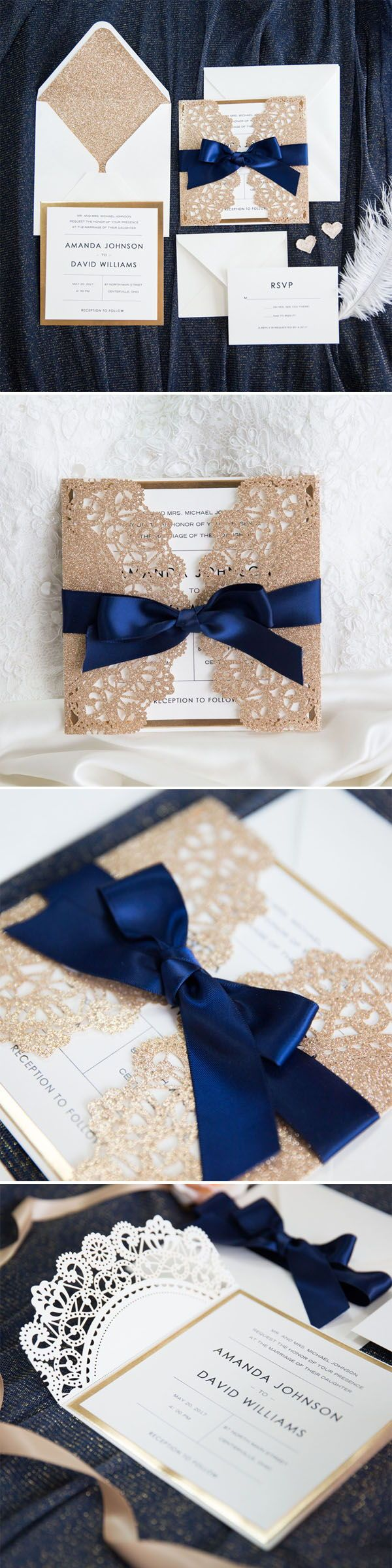 tie ribbon wedding invitation%0A Elegant Rose Gold and Navy Blue Glitter Wedding Invitations with Gold  Glittery Mirror Paper Bottom EWWS