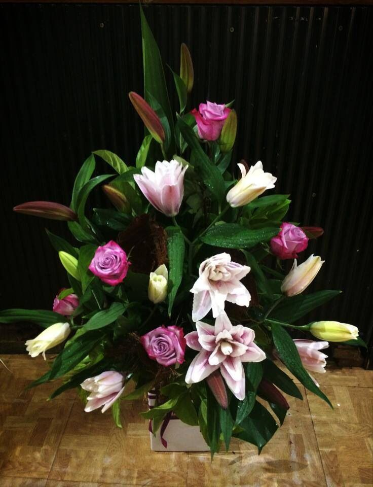 Roses & Rose/Lily Arrangement. Made With Love from Redcliffe City Florist/Wedding Flowers & Coffee Cups.