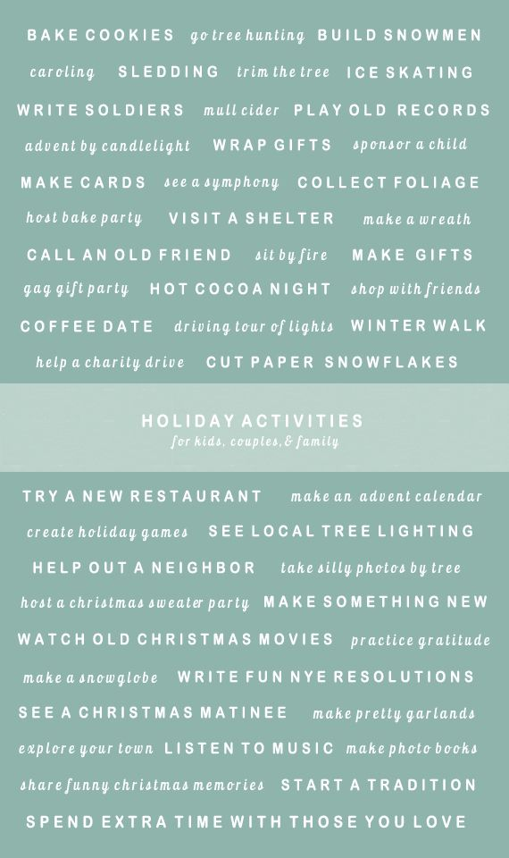 50 festive holiday activities : A Subtle Revelry
