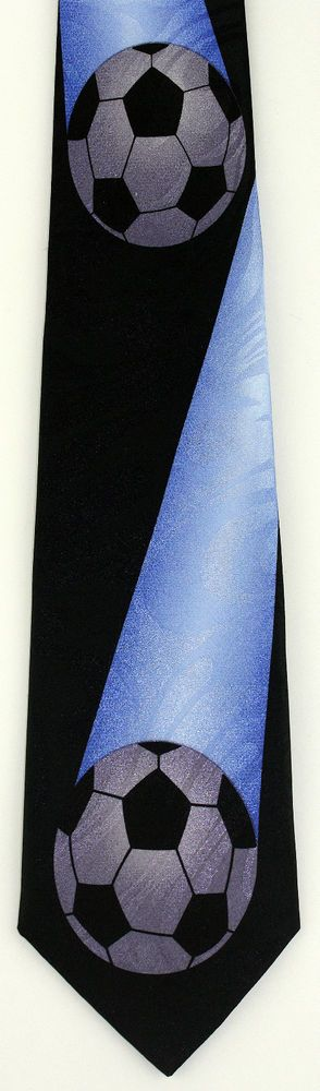 New Blue Streak Mens Necktie Soccer World Cup Football Ball FIFA Sports Neck Tie #StevenHarris #NeckTie