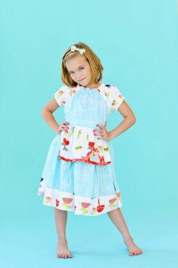 Opal Peasant Blue Dress  www.imaginationchildrensclothing.com