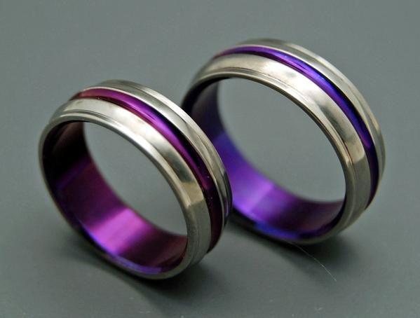 Passion For Purple Purple Anodized Titanium Wedding Ring Set