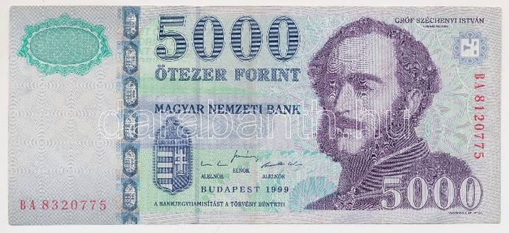Hungary 1999. 5000 Forint BA 8(3)20775 - BA 8(1)20775 with different serial number! C:F  Adamo SF57  Dealer Darabanth Auctions  Auction Minimum Bid: 20000.00 HUF (app. 76 EUR)