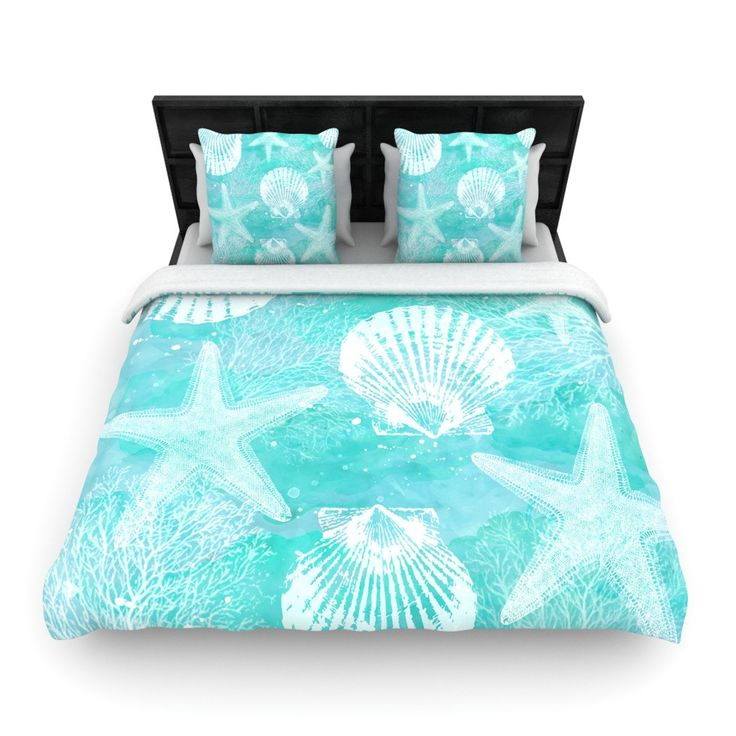 "Sylvia Cook ""Seaside"" Blue Teal Woven Duvet Cover"
