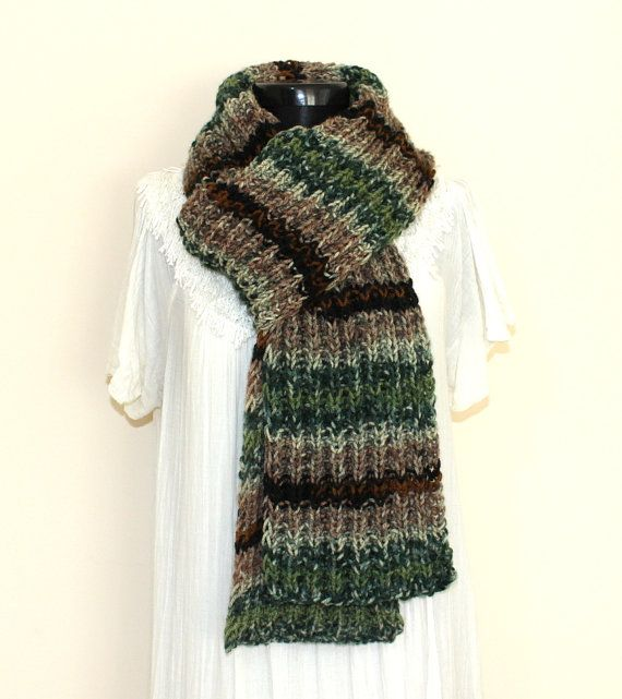 Unisex Hand Knitted Multicolor Chunky Scarf Mens Scarf  gifts for  Hand Knitted Scarves For Men