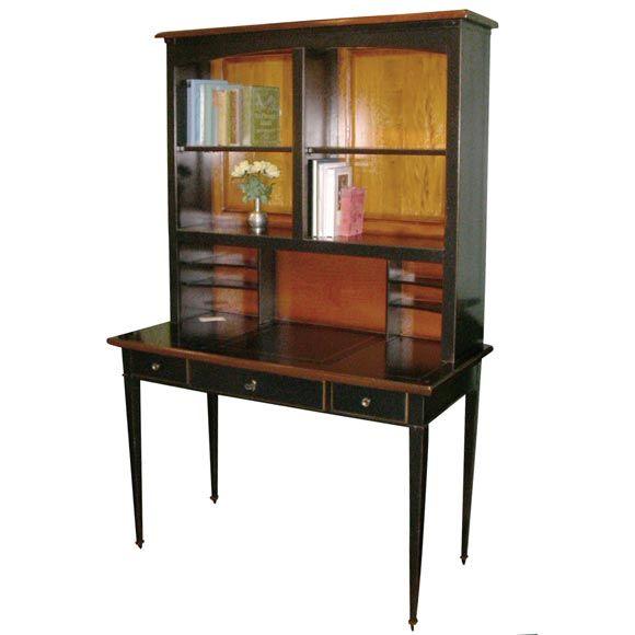 El Marangon Cherry Desk with Hutch in Black Lacquer