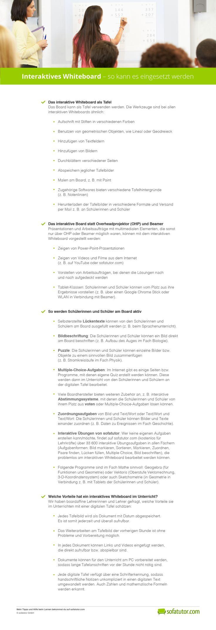Das interaktive Whiteboard ist für manche Lehrerinnen und Lehrer Fluch und Segen zugleich: Wir zeigen Ihnen, wie Sie die digitale Tafel schnell, einfach und effektiv nutzen. Das passende PDF kann hier kostenlos heruntergeladen werden: http://magazin.sofatutor.com/lehrer/2016/03/24/interaktives-whiteboard-so-kann-es-eingesetzt-werden/