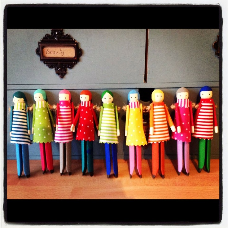Clothespin peg doll in red. £4.00, via Etsy.